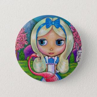 Badge Alice dans le bouton du pays des merveilles et du