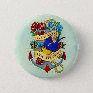 Badge Ancre, hirondelle et roses