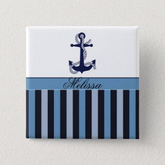 Badge Ancre nautique et rayures bleues