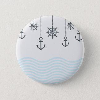 Badge Ancres et vagues nautiques