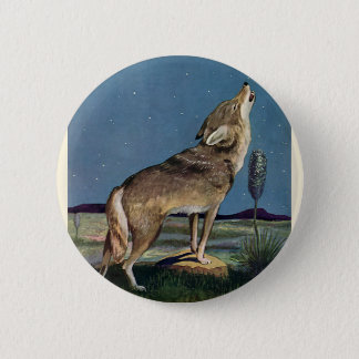 Badge Animal sauvage vintage, loup hurlant à la lune