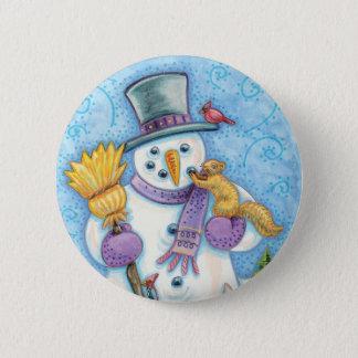 Badge Animaux mignons construisant un bonhomme de neige