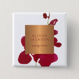 Badge Aquarelle métallique Bourgogne d'en cuivre des