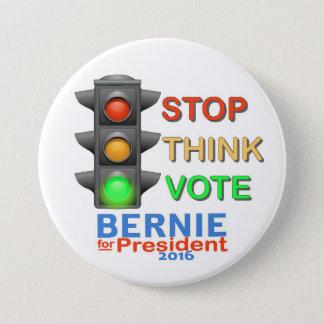 Badge Arrêt.  Pensez.  Votez Bernie