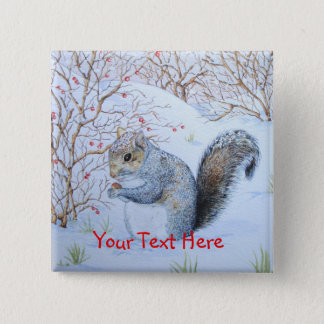 Badge art gris mignon de faune de scène de neige