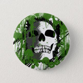 Badge art vert de graffiti de tête de crâne