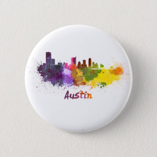Badge Austin skyline in watercolor