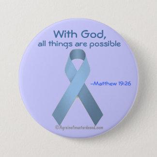 Badge Avec Dieu toutes les choses sont ruban bleu