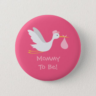 Badge Baby shower lunatique de cigogne de fille