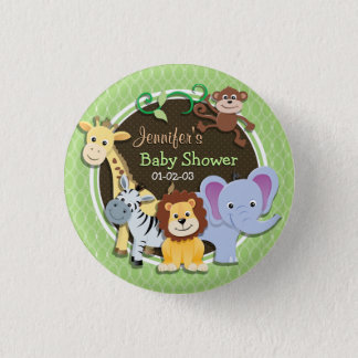 Badge Baby shower mignon de jungle ; Ovales vert clair