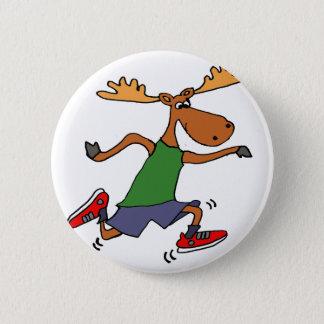 Badge Bande dessinée courante drôle d'orignaux