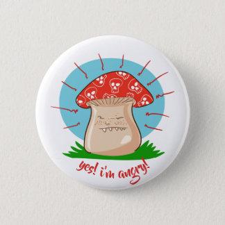 Badge bande dessinée drôle de champignon fâché