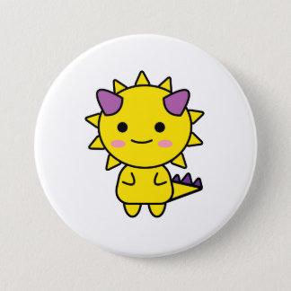 Badge Bande dessinée jaune drôle de Kawaii de dinosaure
