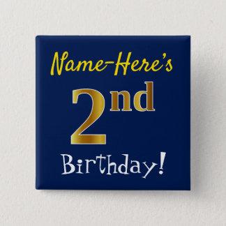 Badge Bleu, anniversaire d'or de Faux 2ème, avec le nom