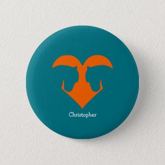 Badge Bleu et poney personnalisé par orange