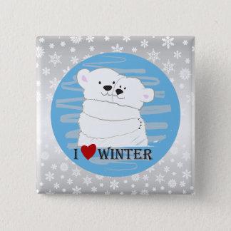 Badge Bleu mignon polaire de neige d'étreinte d'hiver