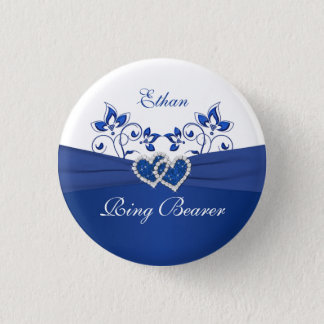 Badge Bleu royal, Pin floral blanc de porteur