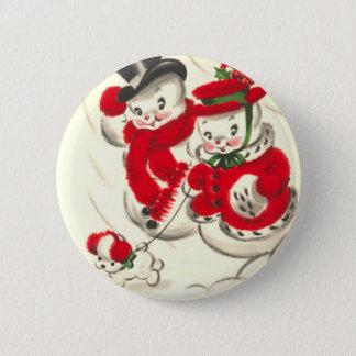 Badge Bonhomme de neige vintage et bouton rond de