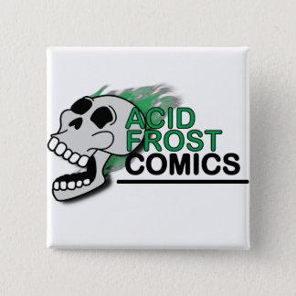 Badge Bouton acide de carré de crâne de bandes dessinées