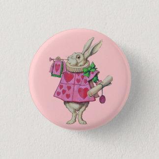 Badge Bouton blanc de lapin (dans le rose)