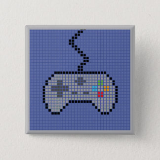 Badge Bouton Blocky carré de Gamepad avec l'arrière -