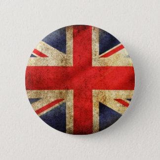 Badge Bouton britannique grunge de drapeau centré