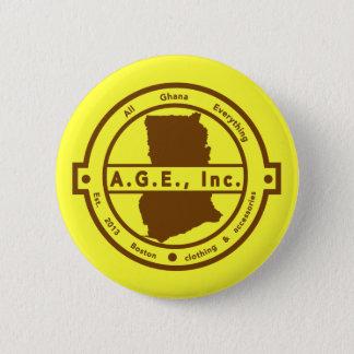 Badge Bouton brun de logo d'A.G.E., Inc.
