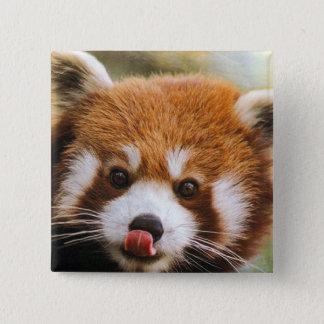 Badge Bouton carré de panda rouge