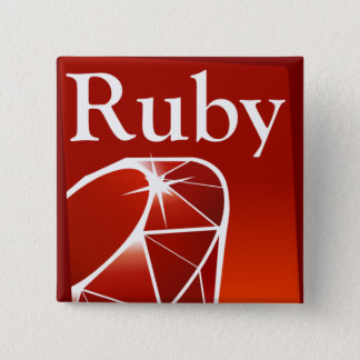 Badge Bouton carré de rubis