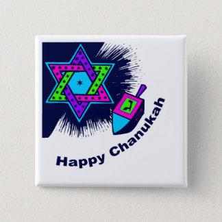 Badge Bouton carré heureux de Chanukah