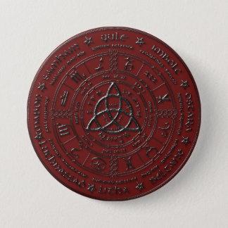 Badge Bouton celtique rouge de zodiaque de bois d'ébène