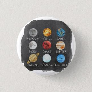 Badge Bouton d'aquarelle de système solaire