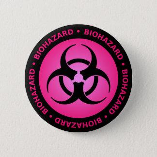 Badge Bouton d'avertissement de Biohazard rose