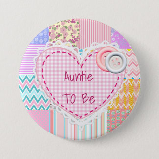 Badge Bouton de baby shower de Heart de tante To Be