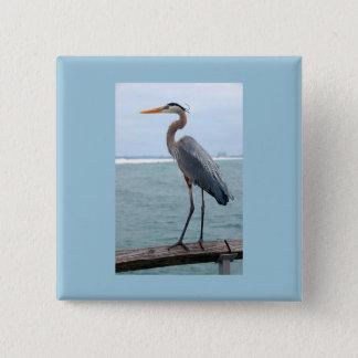 Badge Bouton de carré de héron de grand bleu