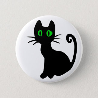 Badge Bouton de chat noir
