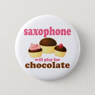 Badge Bouton de musique de chocolat de saxophone