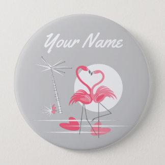 Badge Bouton de nom de côté d'amour de flamant