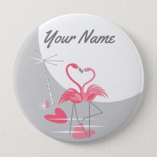 Badge Bouton de nom de lune d'amour de flamant grand