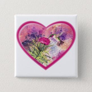 Badge Bouton de Pin d'aquarelle de Valentine de colibri