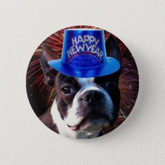 Badge Bouton de terrier de Boston de bonne année