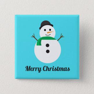 Badge Bouton de vacances de carré de bonhomme de neige