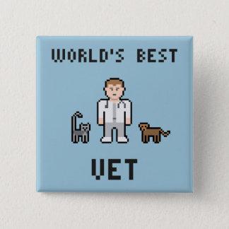 Badge Bouton du vétérinaire du monde de pixel le