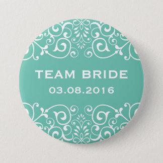 Badge Bouton floral victorien bleu de jeune mariée