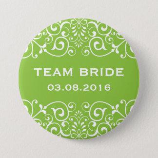 Badge Bouton floral victorien vert de jeune mariée