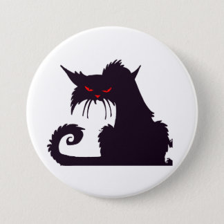 Badge Bouton grincheux de chat noir