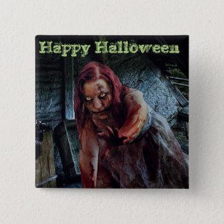 Badge Bouton heureux de fille de zombi de Halloween