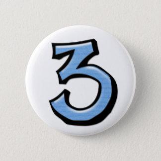 Badge Bouton idiot de bleu du numéro 3