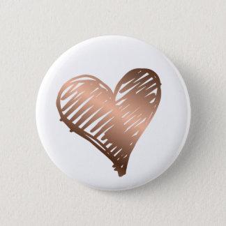 Badge Bouton métallique de coeur d'or