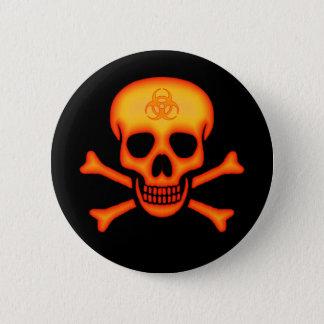 Badge Bouton orange de crâne de Biohazard